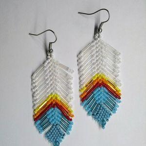 Handmade Dangle Beaded Feather Earrings Turquoise